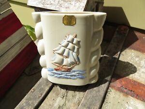 Abingdon Pottery Cream Vase - Ribbed Sides-Nautical Ship on both sides-494-USA