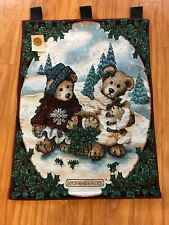 """Boyds Bears Edmund & Bailey Large 26x36"""" Christmas Holiday Wall Hanging Tapestry"""