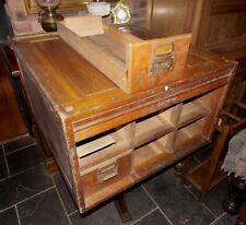 Antique solid oak TAMBOUR FILING CABINET table top index office FOR RESTORATION