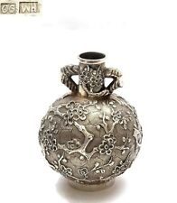 1920's Chinese Solid Silver Repousse Miniature Vase Plum Blossom Mk Wing Hing