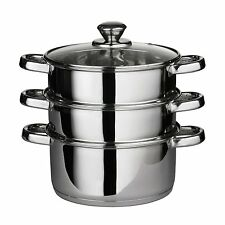 3 piani cottura a vapore in acciaio INOX Set 24cm Vapore Fornello Pentola Pentole Da Cucina