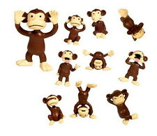10 Monkeyin' Around Figures Bulk  Monkey Party Favors Figurines Cake Toppers New