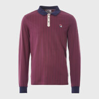 Fila Vintage Borg Polo Shirt - Prune/Navy/Dove
