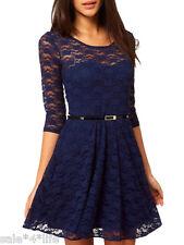 Mini Kleid Spitze Gürtel blau rot 32 34 36 38 XS S M Abendkleid Spitzenkleid