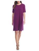 NEW Eileen Fisher Crew Neck Jersey Shift Dress in Purple - Size M #D3111