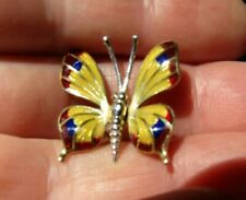 Vintage Butterfly Yellow and White 750 ct. Gold 18 ct. Enamel pin Brooch.
