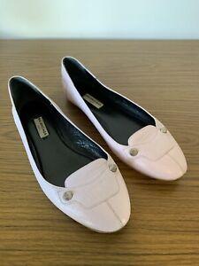 Balenciaga Anthracite Ballet Flat Blush Pink Shoes Leather Italy EU 38 AU 7 37.5