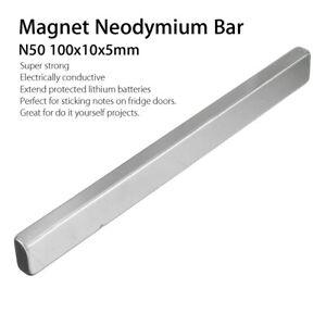 2Pcs 100x10x5mm N50 Long Cuboid Block Bar Super Strong Neodymium Magnet Tool