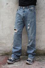 LEVIS 501 VINTAGE MENS FRAYED JEANS BLUE DENIM STRAIGHT LEG RED TAB W34 L34 LOOK