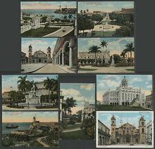 Havana Habana Cuba: Lot of Nine c.1910s-20s Various Postcards in Good Conditions