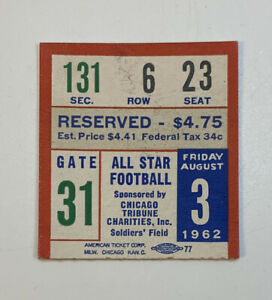 1962 College Football All Star Team v NFL Green Bay Packers Ticket Stub 8/3/62