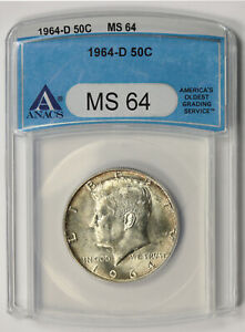 1964-D Kennedy Silver 50C MS 64 ANACS