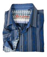 Robert Graham Mens Shirt Size 3XL Blue Embroidered Striped Long Sleeve Flip Cuff