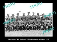 OLD 8x6 HISTORIC MILITARY PHOTO OF NORTHAMPTONSHIRE REGIMENT 4th BATTALION 1934