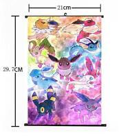 "Hot Japan Anime Pokemon Go Monster Pikachu Wall Scroll Home Decor 8""×12"" 03"
