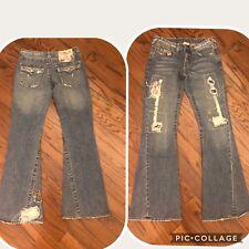 Women's Hippy True Religion Woodstock Joey Denim Jeans 30 Flare Patch Work