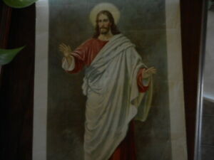 """Antique Print Jesus My Peace I give to You Religious 14""""x 22""""  unframed"""
