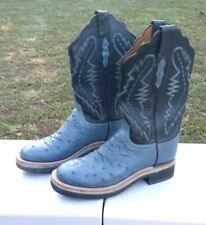 7&1/2 B Lucchese 2000 Full Quill Ostrich Blue & Black Crepe Sole Cowboy Boots