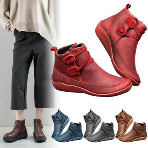 Womens Winter Retro Arch Support Boots Leather Casual Ankle Shoes Comfy Sneakers