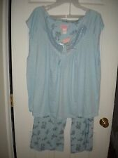 Pink Label light blue knit pajama set rose print with lace accents NWT 4X