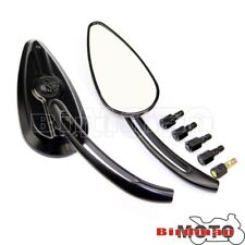 Motorcycle Aluminum Skull Skeleton Side Mirrors For Harley Dyna Heritage Softail