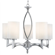Searchlight 5 Lights Chrome White Glass Shades Ceiling Fitting Chandelier Light