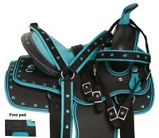 USED WESTERN SYNTHETIC TEAL KIDS YOUTH PONY SADDLE TACK SET 10 12 13