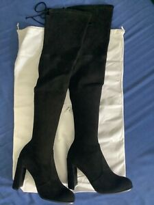 New Stuart Weitzman Hiline Over-The-Knee Black Suede Boots Size 9 M