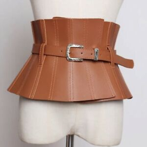 Wide Brown Leather Belt Unique Adjustable High waist Corset Free Ship