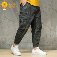 New Men's Camouflage Jogger Casual Cargo Loose Cropped Work Pants Plus Size