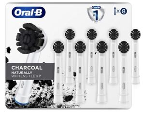 Oral-B Charcoal Infused Bristles 8 Refill Brush Heads Naturally Whiten Teeth New