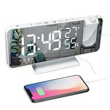 Led Digital Alarm Clock Table Electronic Desktop Clocks Usb Radio Time Projector
