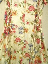 Vtg 90S S M Jennifer James Ivory Red Floral Lace Up Ties Button Down Dress Women