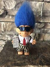 Russ Troll Doll! 4 1/2� Blue Hair Brown Eyes! Troll Street Invester!