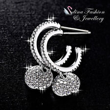 18k White Gold Plated Simulated Diamond Exquisite Round Half Hoop Earrings