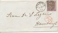 "2304 1865 QV 6 D Pl. 5 ""AJ"" VARIETY: INVERTED WATERMARK ON COVER to HAMBURG, RRR"