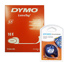 Dymo Letratag Tape 12mm Plastic White (BOX OF 10) 91201 / S0721610