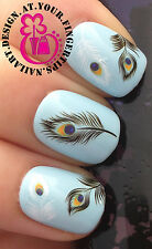 NAIL ART WRAP WATER TRANSFER DECALS PEACOCK EYE BLACK & WHITE FEATHERS #79