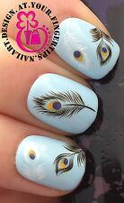 NAIL ART Avvolgere ACQUA trasferimento Decalcomanie PAVONE Eye Black & White piume # 79