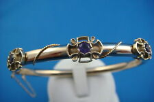 ANTIQUE, 14K GOLD BANGLE BRACELET WITH AMETHYSTS & SAFETY CHAIN 13.4 GRAMS