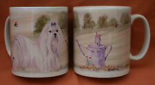MALTESE DOG MUG OFF TO THE DOG SHOW WATERCOLOUR PRINT SANDRA COEN ARTIST