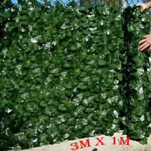 3M Artificial Hedge Ivy Leaf Garden Fence Roll Privacy Screen Balcony Wall Cover