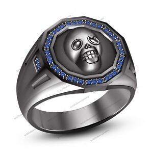 New Designed 0.20ct Sapphire Men's Bikers Skull Ring in B/g Plated 925 Silver