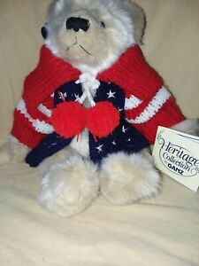 "2000 Ganz Heritage Collection Chandler Bear . Red , White, & Blue Sweater 11""..."