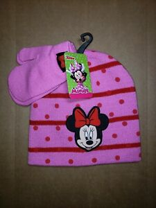 Disney Junior Minnie Mouse Winter Hat Glove Combo Toddler Kids One Size NWT