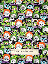 Halloween Mummy Dracula Spooky Fabric 100% Cotton By The Yard AE Nathan Monsters