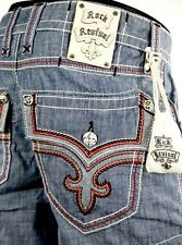 """$220 Mens Rock Revival Jeans """"Red Stitch Leather Inserts Shorts"""" Size 32"""