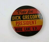 1968 Presidential Campaign DICK GREGORY Pinback Button Hollywood Actor Comedian