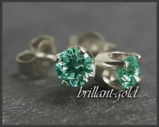 Diamant Brillant 585 Gold Ohrstecker mit 0,15 ct; blaugrün, Ohrringe Weißgold