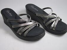 Skechers  Memory Foam Slip On Wedge Heels Sandals Shoes Sz 10 Black Silver